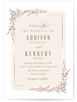 This is a beige foil stamped wedding invitation by chocomocacino called positano with foil-pressed printing on signature in standard.