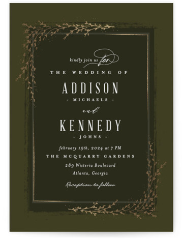 This is a portrait botanical, rustic, green, gold Wedding Invitations by chocomocacino called positano with Foil Pressed printing on Signature in Classic Flat Card format. Classic and elegant invite, inspired by falling foliage that is perfect for outdoor party