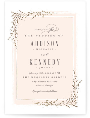 This is a portrait botanical, rustic, pink Wedding Invitations by chocomocacino called positano with Foil Pressed printing on Signature in Classic Flat Card format. Classic and elegant invite, inspired by falling foliage that is perfect for outdoor party