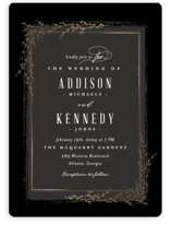 This is a black foil stamped wedding invitation by chocomocacino called positano with foil-pressed printing on signature in standard.