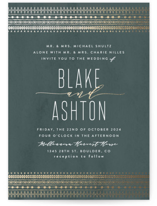 Boho glam wedding invitations - bohemian wedding invitations - bohemian weddings - rustic wedding invitations - rustic weddings - foil-pressed wedding invitations - eggshell color - other colors available