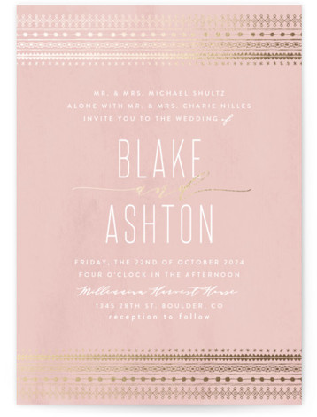 This is a portrait bohemian, pink, gold Wedding Invitations by Carolyn Nicks called boho glam with Foil Pressed printing on Signature in Classic Flat Card format. This chic save the date features a foiled bohemian pattern with minimal and elegant ...