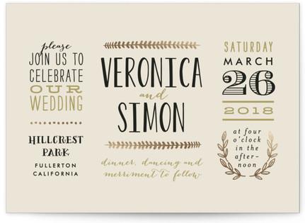 Organic Elegance Foil-Pressed Wedding Invitations
