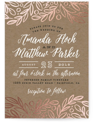 Hidden Branches Foil-Pressed Wedding Invitations