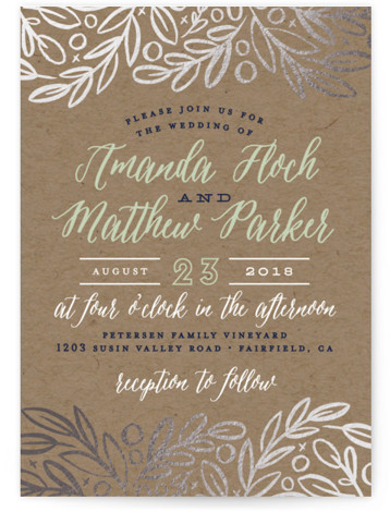 This is a portrait rustic, green Wedding Invitations by Alethea and Ruth called Hidden Branches with Foil Pressed printing on Signature in Classic Flat Card format. This wedding invite features foliage and leaves tucked in at the top and bottom. ...