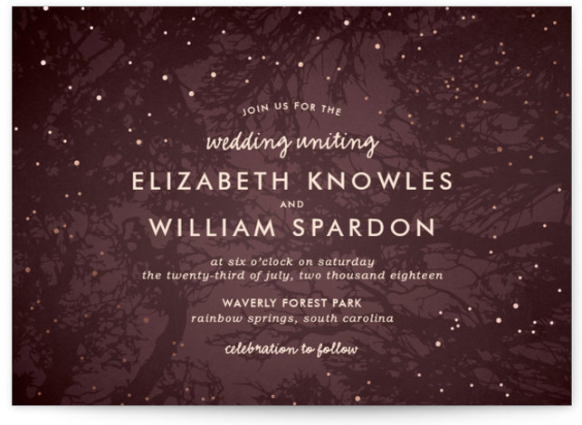 This is a landscape rustic, purple Wedding Invitations by 2birdstone called Night In The Forest with Foil Pressed printing on Signature in Classic Flat Card format. The romance of an indigo night sky dotted with fireflies is undeniable and sets ...