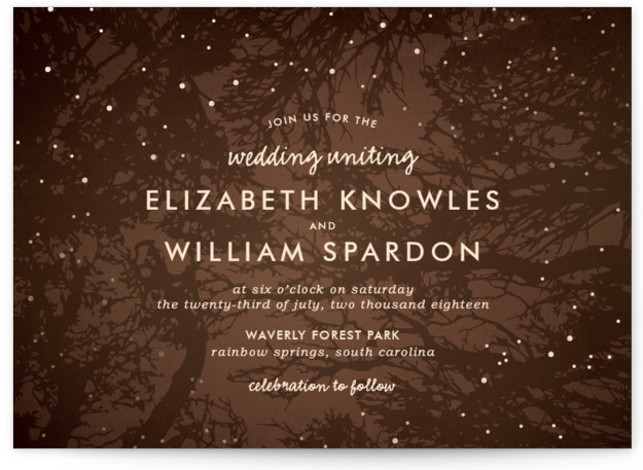 This is a landscape rustic, brown Wedding Invitations by 2birdstone called Night In The Forest with Foil Pressed printing on Signature in Classic Flat Card format. The romance of an indigo night sky dotted with fireflies is undeniable and sets ...