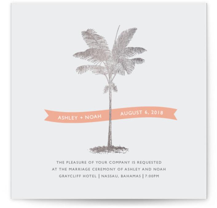 Palm Foil-Pressed Wedding Invitations