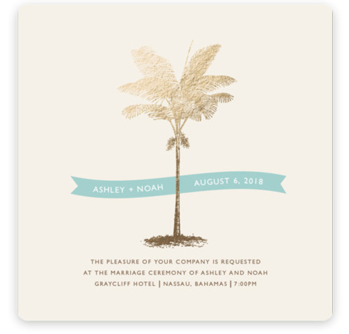 This is a square botanical, illustrative, blue, gold Wedding Invitations by Lauren Chism called Palm with Foil Pressed printing on Signature in Classic Flat Card format. Modern meets elegant with this luxe destinate save the date. It will leave your ...