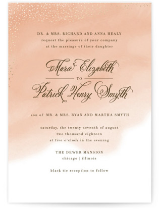 Watercolor Wash Foil Pressed Wedding Invitations