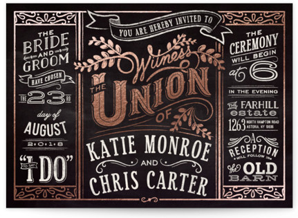 Slated Forever Foil-Pressed Wedding Invitations
