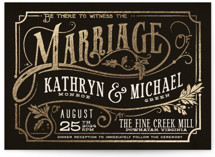This is a black foil stamped wedding invitation by GeekInk Design called Inked with foil-pressed printing on signature in standard.