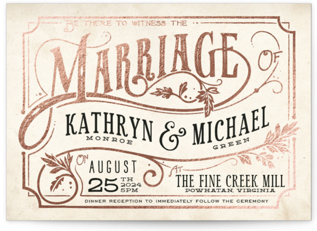 This is a landscape bold typographic, hand drawn, vintage, beige, black Wedding Invitations by GeekInk Design called Inked with Foil Pressed printing on Signature in Classic Flat Card format. Unique type and hand drawn flourishes in an ink pen style ...