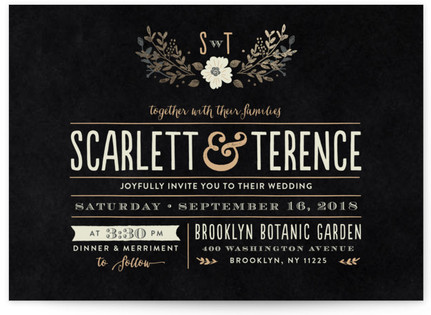 Jardin Nocturne Foil-Pressed Wedding Invitations