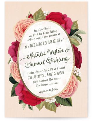 Vintage Botanicals Foil-Pressed Wedding Invitations