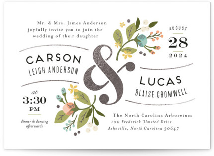Floral Ampersand Foil-Pressed Wedding Invitations