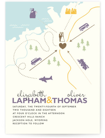 This is a landscape, portrait beach, destination, illustrative, modern, whimsical, purple, colorful, gold Wedding Invitations by leslie hamer called Destination with Foil Pressed printing on Signature in Classic Flat Card format. Many modern weddings involve friends and family traveling from ...