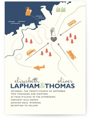 This is a landscape, portrait beach, destination, illustrative, modern, whimsical, blue, colorful, silver Wedding Invitations by leslie hamer called Destination with Foil Pressed printing on Signature in Classic Flat Card format. Many modern weddings involve friends and family traveling from ...