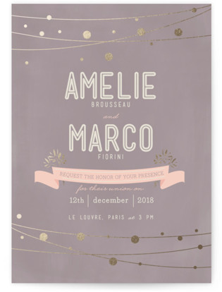 Paris Lights Foil-Pressed Wedding Invitations