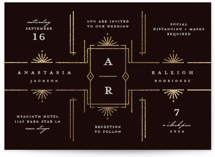 This is a black foil stamped wedding invitation by Katie Zimpel called Social Distancing with foil-pressed printing on signature in standard.