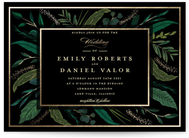 This is a black foil stamped wedding invitation by Susan Moyal called Emerald Leaves with foil-pressed printing on signature in standard.