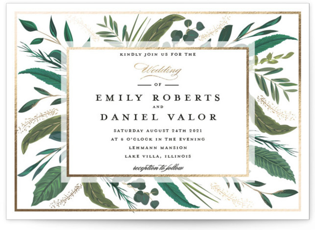 This is a landscape botanical, painterly, gold, white Wedding Invitations by Susan Moyal called Emerald Leaves with Foil Pressed printing on Signature in Classic Flat Card format. This wedding invitation design features a frame of emerald colored greenery