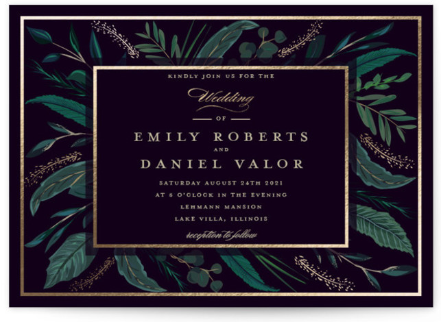 This is a landscape botanical, painterly, gold, green Wedding Invitations by Susan Moyal called Emerald Leaves with Foil Pressed printing on Signature in Classic Flat Card format. This wedding invitation design features a frame of emerald colored greenery