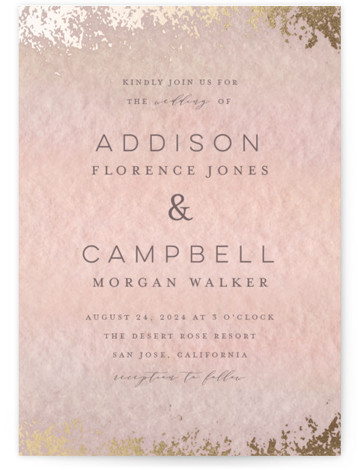 This is a portrait bohemian, painterly, orange, gold Wedding Invitations by Grace Kreinbrink called Mood with Foil Pressed printing on Signature in Classic Flat Card format. Delicate, soft, classic wedding invitation featuring muted and moody watercolor backdrop and a soft ...