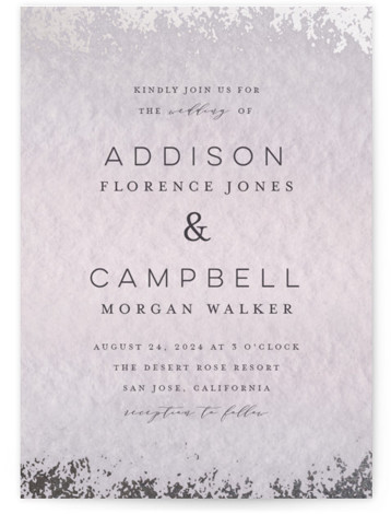 This is a portrait bohemian, painterly, purple, silver Wedding Invitations by Grace Kreinbrink called Mood with Foil Pressed printing on Signature in Classic Flat Card format. Delicate, soft, classic wedding invitation featuring muted and moody watercolor backdrop and a soft ...