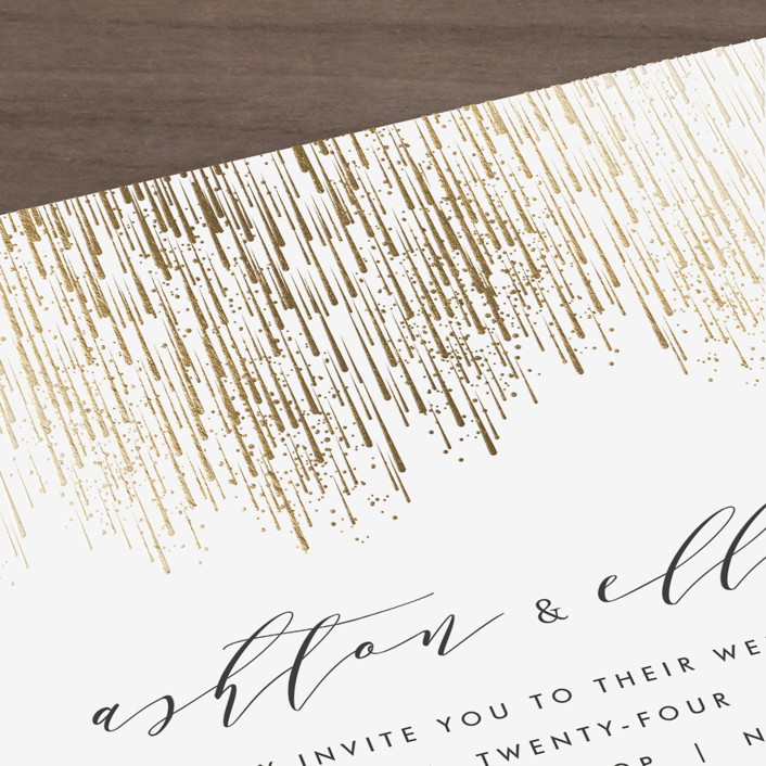 Sparkle + Shine Foil-Pressed Wedding Invitations By