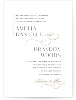 This is a white foil stamped wedding invitation by Jessica Williams called Elegant Flourish with foil-pressed printing on signature in standard.