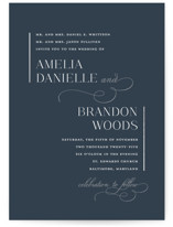 This is a blue foil stamped wedding invitation by Jessica Williams called Elegant Flourish with foil-pressed printing on signature in standard.