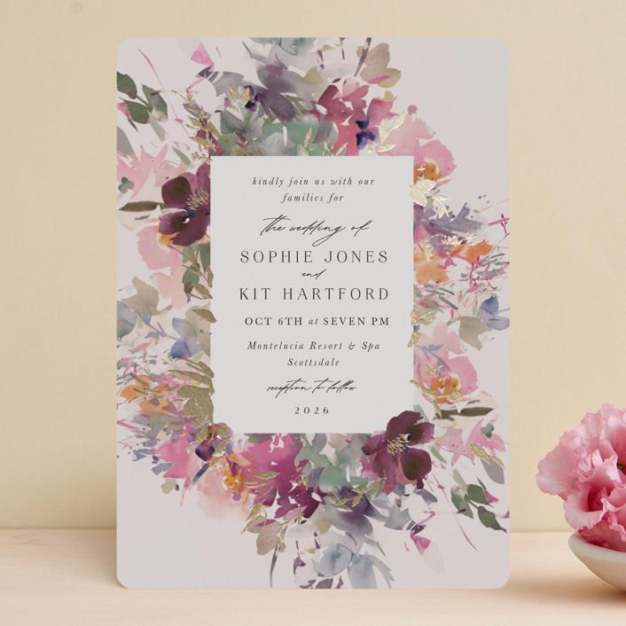 """Fleur"" - Foil-pressed Wedding Invitations in Blush by Lori Wemple."