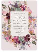 This is a pink foil stamped wedding invitation by Lori Wemple called Fleur with foil-pressed printing on signature in standard.