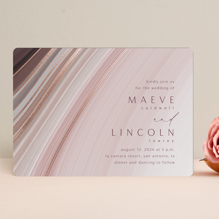 """chiffon"" - Modern Foil-pressed Wedding Invitations in Desert Rose by Kaydi Bishop."