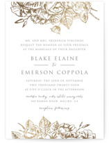 This is a white foil stamped wedding invitation by Rochelle Renee called Gilded Wildflowers with foil-pressed printing on signature in standard.
