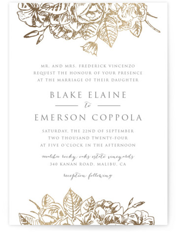 This is a gold foil stamped wedding invitation by Smudge Design called Gilded Wildflowers with foil-pressed printing on signature in standard.