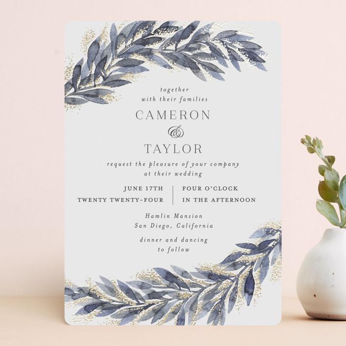 """winter elegance"" - Bohemian Foil-pressed Wedding Invitations in Winter by Alexandra Dzh."