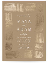 This is a brown foil stamped wedding invitation by Ana Sharpe called Mojave with foil-pressed printing on signature in standard.