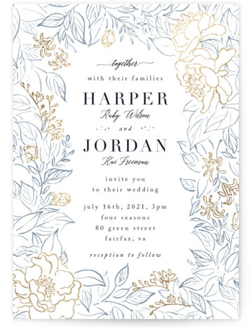 This is a portrait botanical, blue, gold Wedding Invitations by Qing Ji called Lush Garden with Foil Pressed printing on Signature in Classic Flat Card format. Beautiful invitation featuring hand drawn lush flowers and leaves.