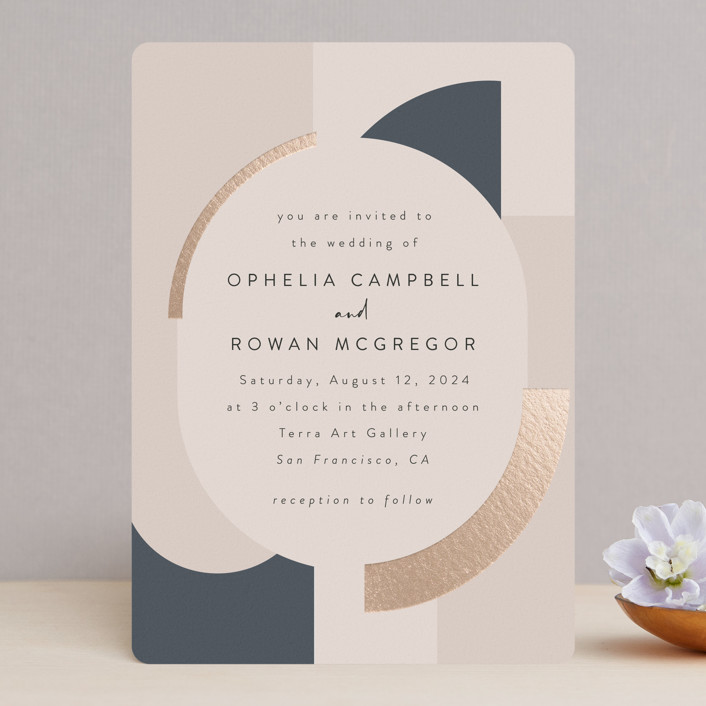 """""""Blocks of Color"""" - Modern Foil-pressed Wedding Invitations in Natural Slate by Maria Hilas-Louie."""