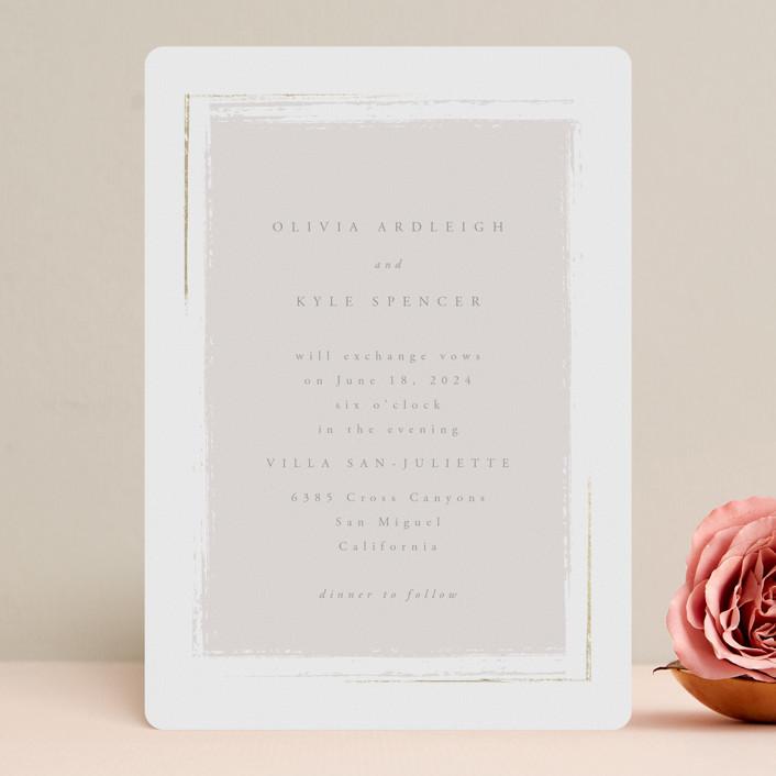 """Minimalista"" - Foil-pressed Wedding Invitations in Creme by Kristie Kern."