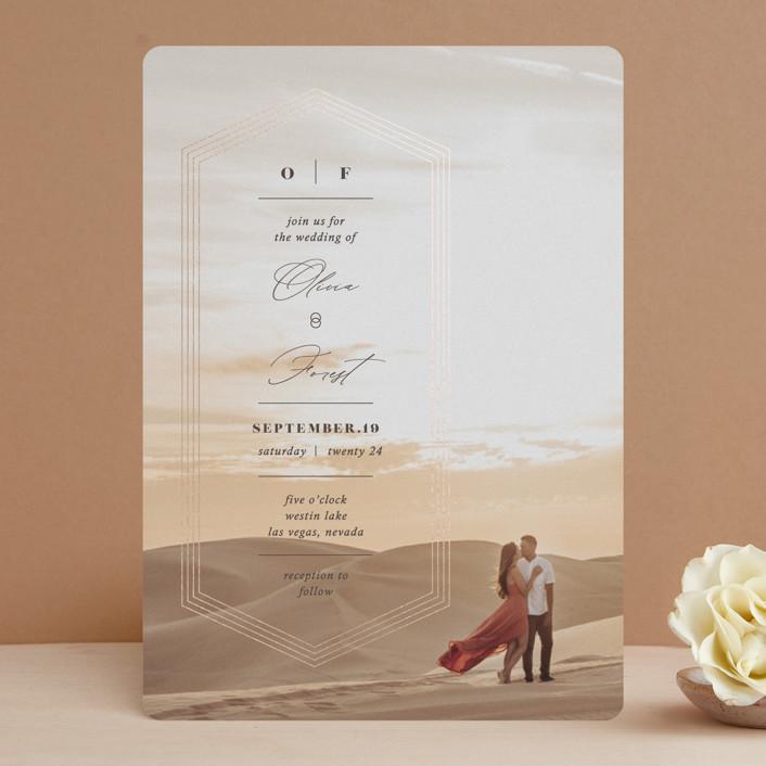 """Hexa"" - Foil-pressed Wedding Invitations in Bark by fatfatin."
