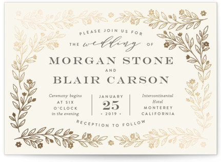 Engraved Garden Foil-Pressed Wedding Invitations