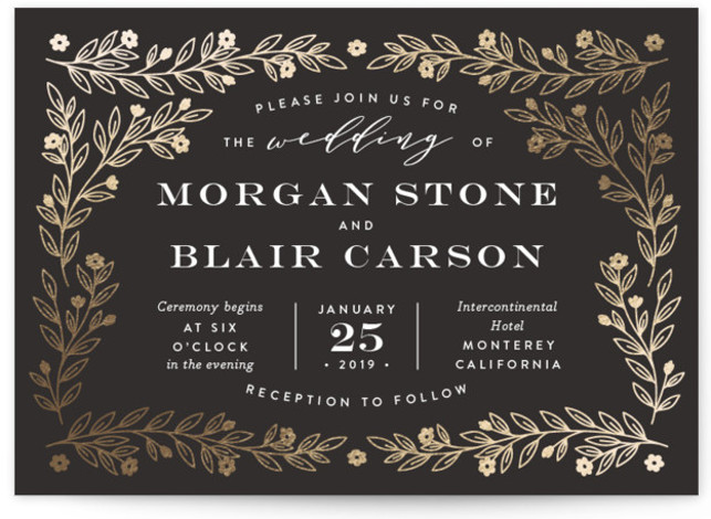 This is a landscape botanical, rustic, black and white, gold Wedding Invitations by Jill Means called Engraved Garden with Foil Pressed printing on Signature in Classic Flat Card format. Glittering garden vines frame classic typography.