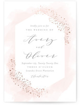 This is a pink foil stamped wedding invitation by Kristie Kern called Sparkling Champagne with foil-pressed printing on signature in standard.