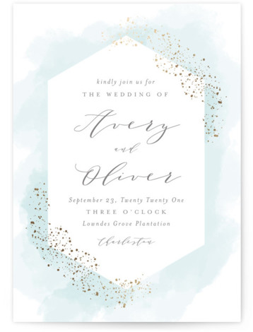 This is a portrait modern, painterly, blue Wedding Invitations by Kristie Kern called Sparkling Champagne with Foil Pressed printing on Signature in Classic Flat Card format. Pastel watercolor is highlighted with sparkling rose gold foil.