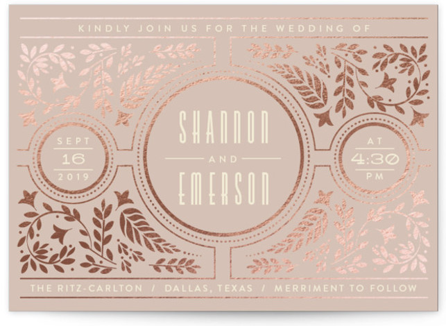 This is a landscape vintage, pink, rosegold Wedding Invitations by Ana de Sousa called Gilded Love with Foil Pressed printing on Signature in Classic Flat Card format. A wedding card featuring a leaf pattern.
