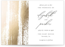 This is a white foil stamped wedding invitation by Kelly Schmidt called Brushed Accent with foil-pressed printing on signature in standard.