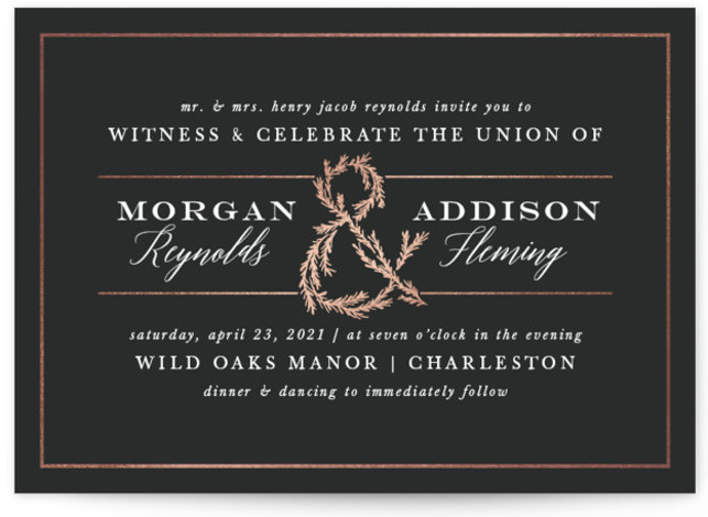 This is a landscape classic and formal, black and white, black, gold Wedding Invitations by Amy Kross called Sketched Ampersand with Foil Pressed printing on Signature in Classic Flat Card format. This foil pressed wedding invitation features a beautiful hand ...